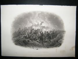 Crimea 1857 Antique Print. Night Attack in the Trenches, Sebastopol
